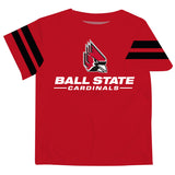 Ball State Universiy Stripe Red Tee Shirt Short Sleeve - Vive La Fête - Online Apparel Store