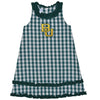 Baylor Embroidered Big Check Green Ruffle Jumper
