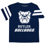 Butler Bulldogs Vive La Fete Boys Game Day Navy Short Sleeve Tee with Stripes on Sleeves - Vive La Fête - Online Apparel Store