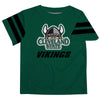Cleveland State Vikings Vive La Fete Boys GameDay Green Short Sleeve Tee with Stripes on Sleeves - Vive La Fête - Online Children's Apparel