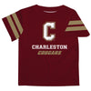 Charleston Cougars COC Vive La Fete Boys GameDay Maroon Short Sleeve Tee with Stripes on Sleeves - Vive La Fête - Online Children's Apparel