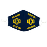 University of Central Oklahoma Face Mask Navy All Over Logo UCO