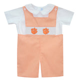 Clemson Smocked Embroidered Orange Check Jon Jon and  Short Sleeve Shirt