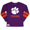 Clemson Tigers Stripes Purple Long Sleeve Fleece Sweatshirt Side Vents - Vive La Fête - Online Apparel Store