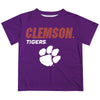 Clemson Tigers Solid Stripped Logo Purple Short Sleeve Tee Shirt - Vive La Fête - Online Apparel Store