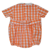 Clemson Smocked Embroidered Orange Big Check Boys Bubble Short Sleeve