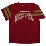 Denver Pioneers Vive La Fete Boys Game Day Maroon Short Sleeve Tee with Stripes on Sleeves - Vive La Fête - Online Apparel Store