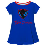 Depaul Blue Demons Vive La Fete Girls Game Day Short Sleeve Blue Top with School Logo and Name - Vive La Fête - Online Children's Apparel