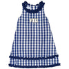 FIU Embroidery Big Check Blue Ruffle Jumper - Vive La Fête - Online Apparel Store