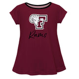Fordham Rams Vive La Fete Girls Game Day Short Sleeve Maroon Top With School Logo and Name - Vive La Fête - Online Children's Apparel
