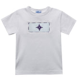 Furman Smocked Embroiderd White Knit Tee Shirt Short Sleeve