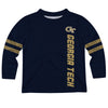 Georgia Tech Yellow Jackets Stripes Blue Long Sleeve Tee Shirt - Vive La Fête - Online Apparel Store