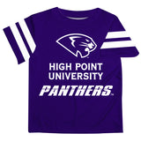 High Point Panthers Vive La Fete Boys Game Day Purple Short Sleeve Tee with Stripes on Sleeves - Vive La Fête - Online Apparel Store