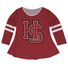 Hampden Sydney Big Logo Maroon Stripes Long Sleeve Girls Laurie Top - Vive La Fête - Online Apparel Store