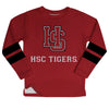 Hampden Sydney Stripes Maroon Long Sleeve Fleece Sweatshirt Side Vents - Vive La Fête - Online Apparel Store