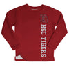 Hampden Sydney Hsc Tigers Logo Maroon Long Sleeve Fleece Sweatshirt Side Vents - Vive La Fête - Online Apparel Store