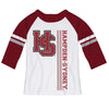 Hampden Sydney White Girls Tee Raglan Three Quarter Sleeve