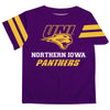 Northern Iowa Panthers Vive La Fete Boys Game Day Purple Short Sleeve Tee with Stripes on Sleeves - Vive La Fête - Online Children's Apparel
