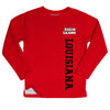 Louisiana At Lafayette Louisiana Logo Red Long Sleeve Fleece Sweatshirt Side Vents