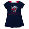 Liberty Flames Vive La Fete Girls Game Day Short Sleeve Navy Top with School Logo and Name - Vive La Fête - Online Children's Apparel