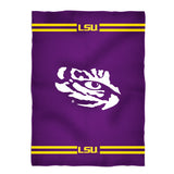LSU Tigers Stripes Purple Fleece Blanket