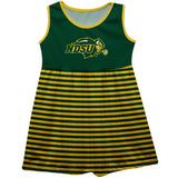 North Dakota State Bison NDSU Green Sleeveless Tank Dress With Gold Stripes - Vive La Fête - Online Children's Apparel