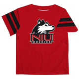 Northern Illinois Huskies Vive La Fete Boys Game Day Red Short Sleeve Tee with Stripes on Sleeves - Vive La Fête - Online Children's Apparel