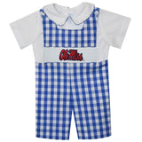 Mississippi Smocked Embroidered Royal Big Check Shortall And White Shirt Short Sleeve - Vive La Fête - Online Apparel Store