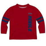 Mississippi Rebels Stripes Red Long Sleeve Tee Shirt - Vive La Fête - Online Apparel Store