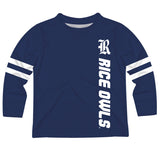 Rice Owls Stripes Blue Long Sleeve Tee Shirt - Vive La Fête - Online Apparel Store