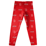 South Dakota Coyotes Leggings Red All Over Logo - Vive La Fête - Online Apparel Store