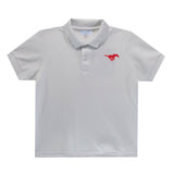 SMU Embroidered  White Polo Box Shirt Short Sleeve