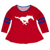 SMU Mustangs Big Logo Red Stripes Long Sleeve Girls Laurie Top