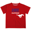 SMU Mustangs Solid Stripped Logo Red Short Sleeve Tee Shirt - Vive La Fête - Online Apparel Store