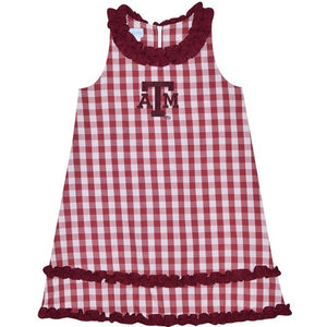 Texas A&M Big Check Maroon Ruffle Jumper