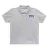 TCU Embroidered  White Polo Box Shirt Short Sleeve