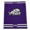TCU Honed Frogs Stripes Purple Fleece Blanket