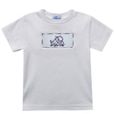 TCU Smocked Embroidered White Knit Tee Shirt Short Sleeve