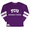 TCU Honed Frogs Stripes Purple Long Sleeve Fleece Sweatshirt Side Vents - Vive La Fête - Online Apparel Store