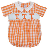 Tennessee Smocked Embroidered Orange Big Check Boys Bubble Short Sleeve - Vive La Fête - Online Apparel Store