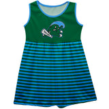Tulane Green Wave Vive La Fete Girls Game Day Sleeveless Tank Dress Solid Green Mascot Stripes on Skirt - Vive La Fête - Online Children's Apparel
