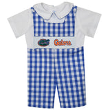 Florida Smocked Embroidered Royal Big Check Shortall And White Shirt Short Sleeve - Vive La Fête - Online Apparel Store