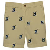 United States Naval Academy USNA All Over Gold Print Structured Short - Vive La Fête - Online Children's Apparel