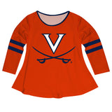 Virginia Cavaliers Big Logo Orange Stripes Long Sleeve Girls Laurie Top - Vive La Fête - Online Apparel Store