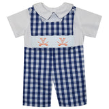 Virginia Cavaliers Smocked Embroidered Navy Big Check Shortall And White Shirt Short Sleeve - Vive La Fête - Online Apparel Store