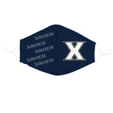 Xavier University Muskateers Vive La Fete All Over Logo Game Day Collegiate Face Cover Mask Ergonomic Reusable Washable - Vive La Fête - Online Apparel Store
