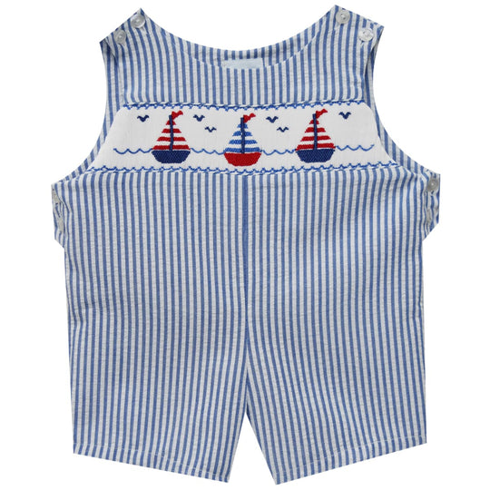 Sailboats Smocked Sunsuit - Vive La Fête - Online Apparel Store