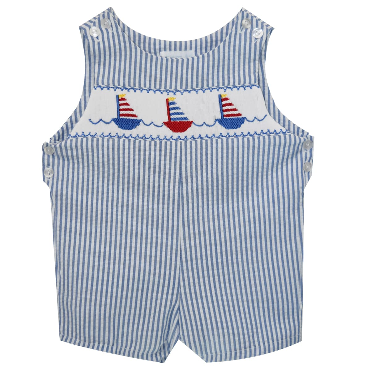 Cat Boat Race Smocked Shortall - Vive La Fête - Online Apparel Store