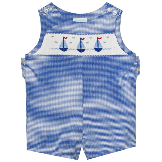 Sailboats Smocked Royal Check Boys Shortall - Vive La Fête - Online Apparel Store