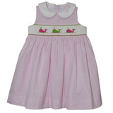 Whales Smocked Pink Stripe Seersucker Sleeveless Dress - Vive La Fête - Online Children's Apparel